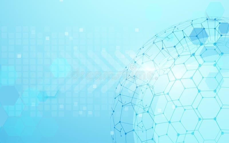 Rete globale con il punto della mappa di mondo e linee e triangoli, rete di collegamento del punto su fondo blu illustrazione di stock