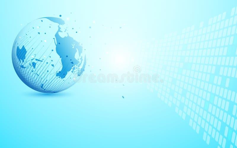 Rete globale con il punto della mappa di mondo e linee e triangoli, rete di collegamento del punto su fondo blu vettore dell'illu royalty illustrazione gratis