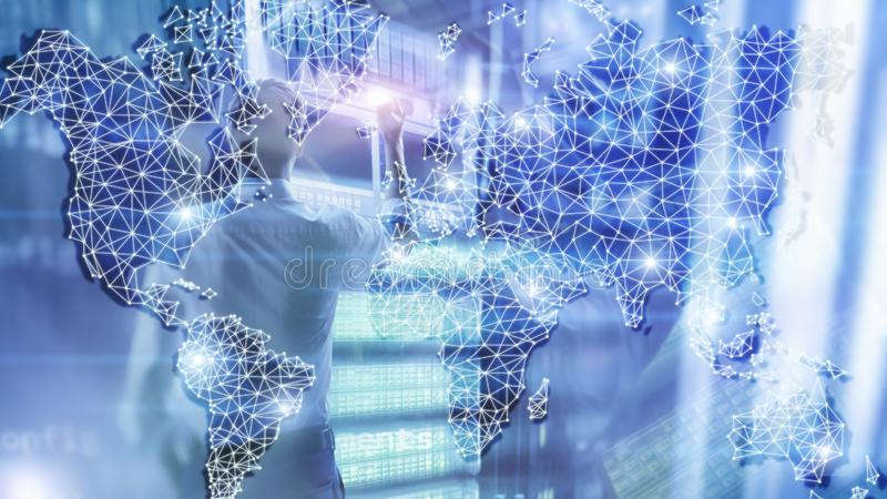 Rete globale di doppia esposizione della mappa di mondo Telecomunicazione, Internet internazionale di affari e concetto di tecnol illustrazione vettoriale