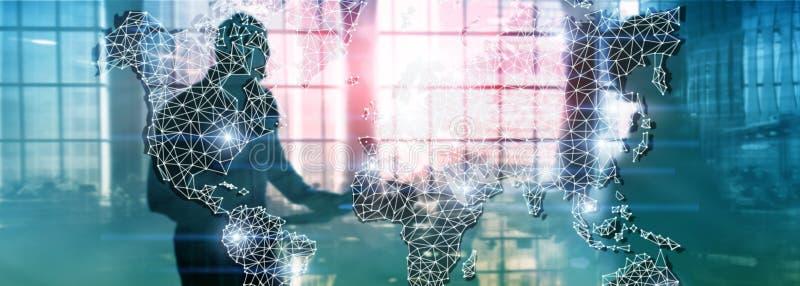 Rete globale di doppia esposizione della mappa di mondo Telecomunicazione, Internet internazionale di affari e concetto di tecnol fotografia stock