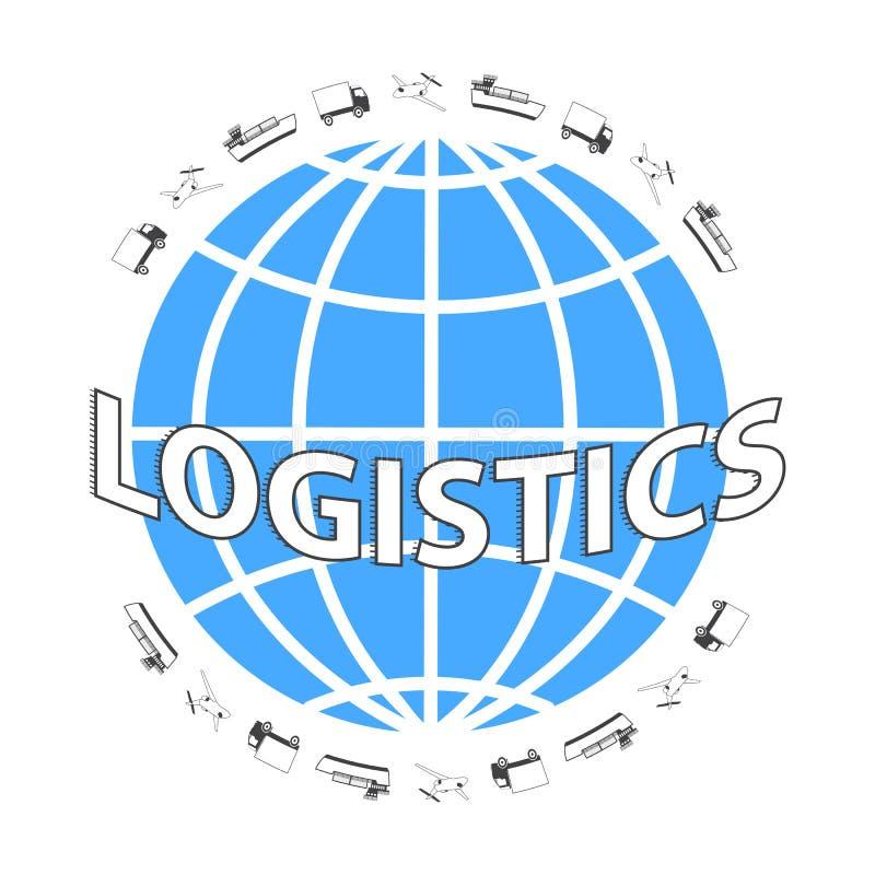 Rete globale di logistica Metta le icone: camion, aeroplano, nave da carico Trasporto sopra il mondo illustrazione vettoriale