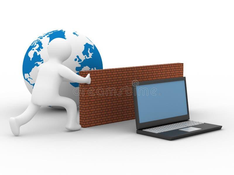 Rete globale protettiva il Internet. royalty illustrazione gratis