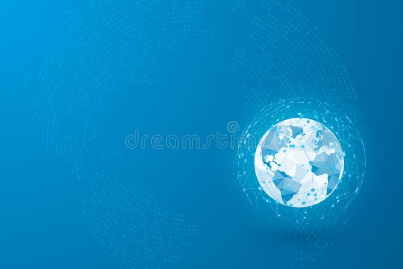Rete globale Punto della mappa di mondo e linee e triangoli Rete di collegamento del punto Illustrazione di vettore su fondo blu illustrazione di stock