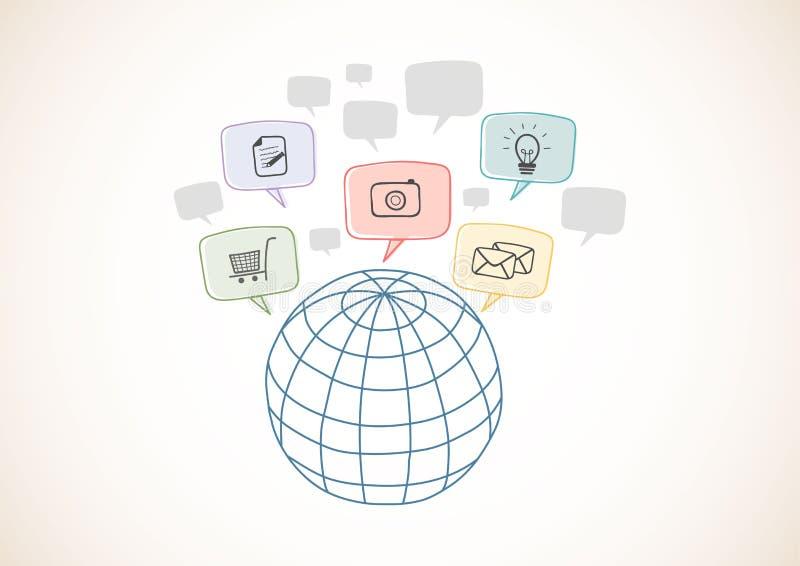 Rete internet con le icone, rapporto d'affari mondiale Stili disegnati a mano illustrazione vettoriale
