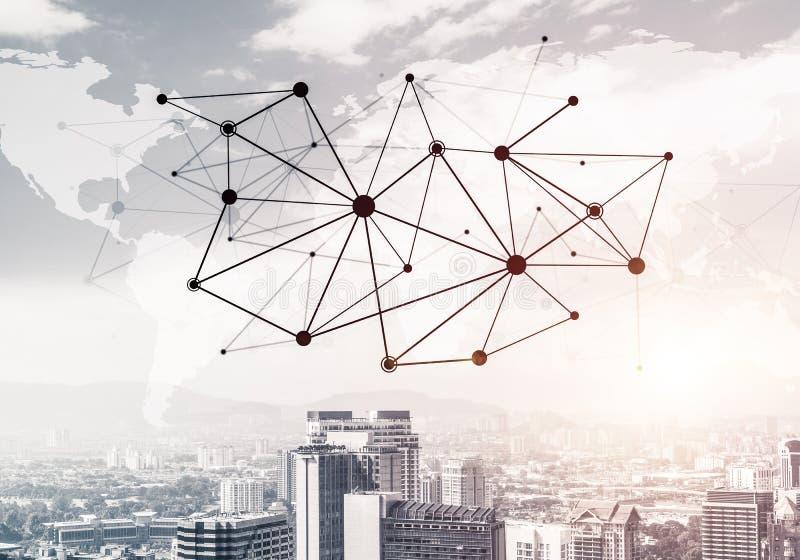 Rete moderna del sociale e della città come concetto per rete globale immagini stock