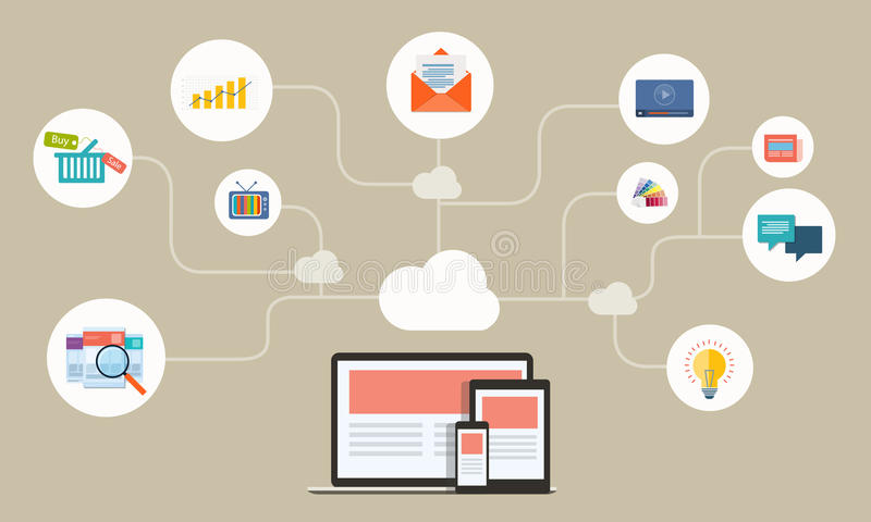 Rete online di affari piani sull'applicazione del dispositivo illustrazione di stock