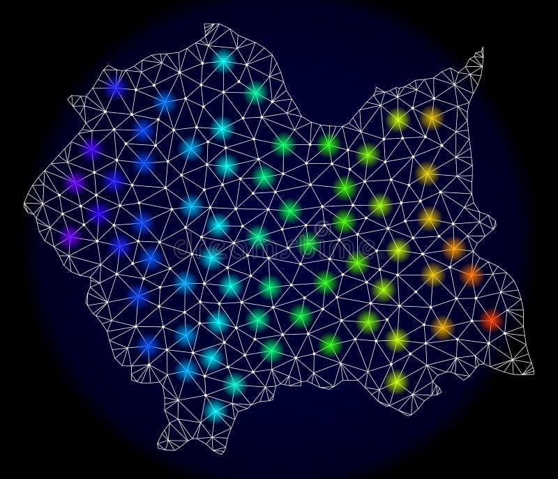 Rete poligonale Mesh Map di Lesser Poland Voivodeship con i punti di luce intensa illustrazione di stock