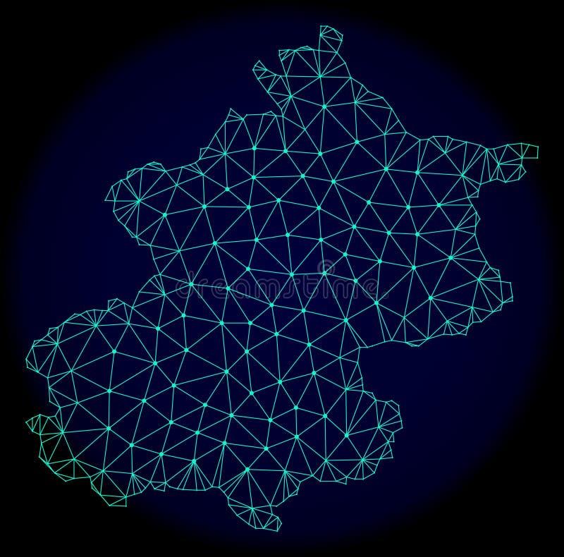 Rete poligonale Mesh Vector Abstract Map del comune di Pechino illustrazione vettoriale