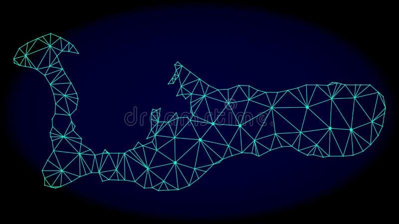 Rete poligonale Mesh Vector Abstract Map dell'isola di Grand Cayman illustrazione vettoriale