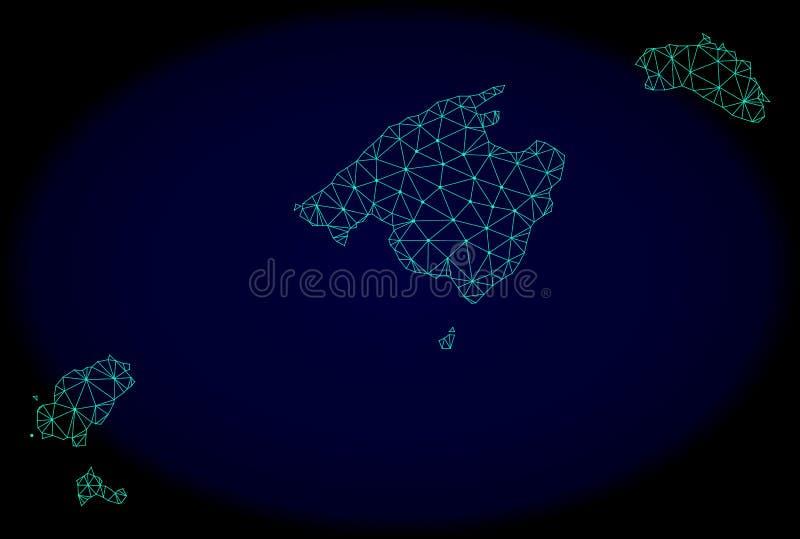 Rete poligonale Mesh Vector Abstract Map delle Isole Baleari illustrazione di stock