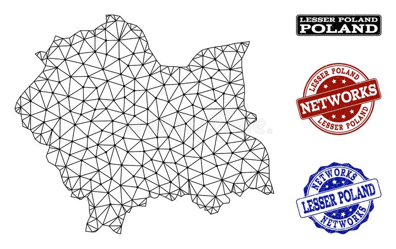 Rete poligonale Mesh Vector Map dei bolli di lerciume della rete e di Lesser Poland Province royalty illustrazione gratis