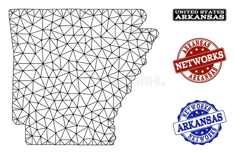 Rete poligonale Mesh Vector Map dei bolli di lerciume dello stato e della rete dell'Arkansas royalty illustrazione gratis