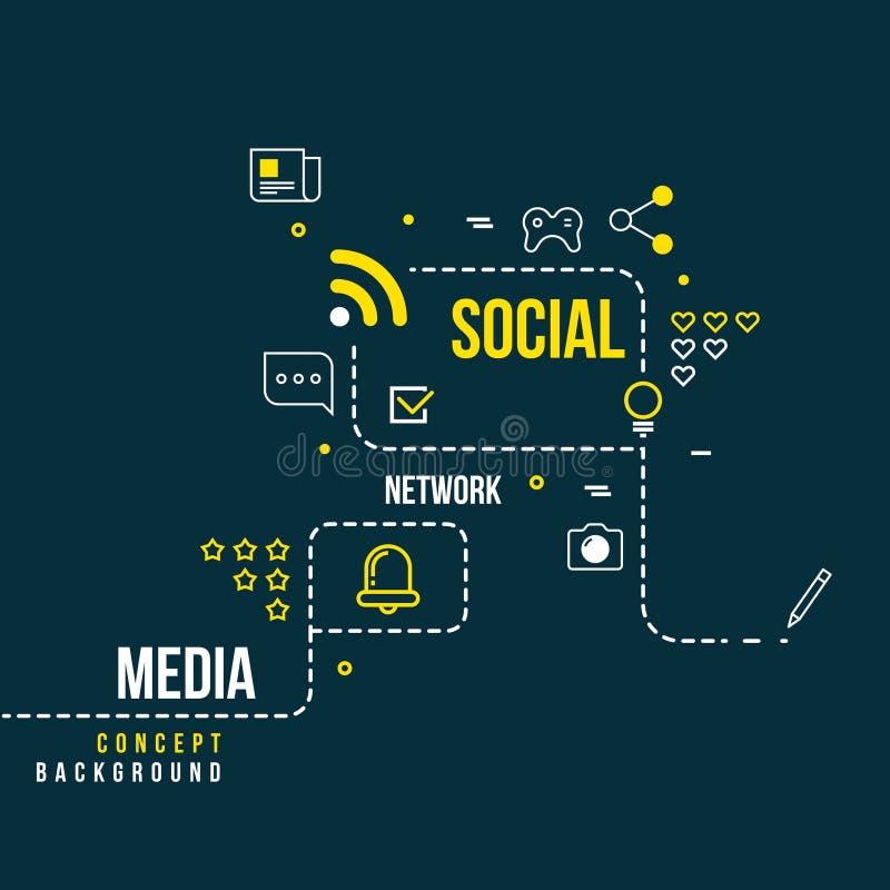 Rete sociale astratta della comunità, concetto interattivo di vettore di media illustrazione di stock