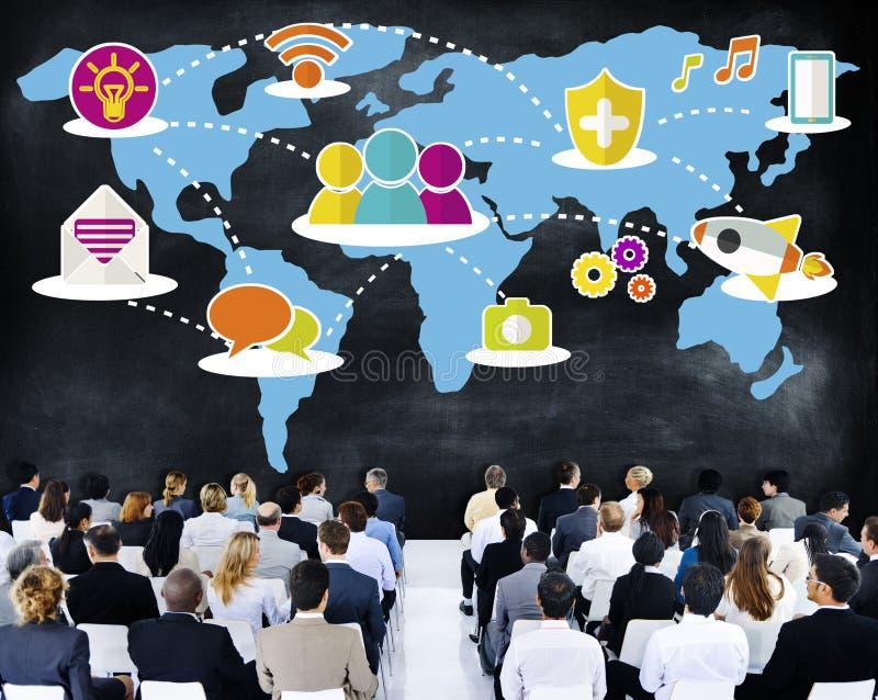 Rete sociale che divide concetto del collegamento delle comunicazioni globali illustrazione vettoriale