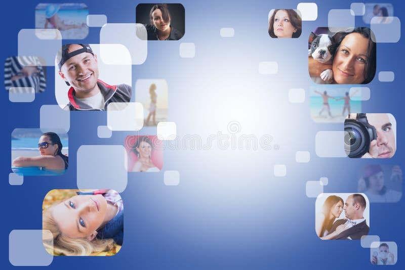 Rete sociale con i fronti fotografie stock