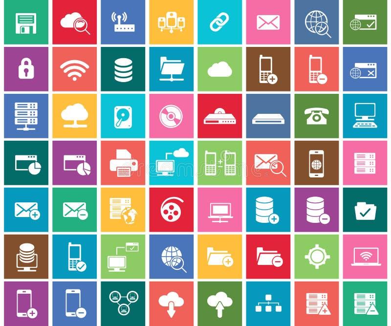 Rete sociale, dati analitici, cellulare ed insieme dell'icona di applicazione web Vettore piano illustrazione di stock