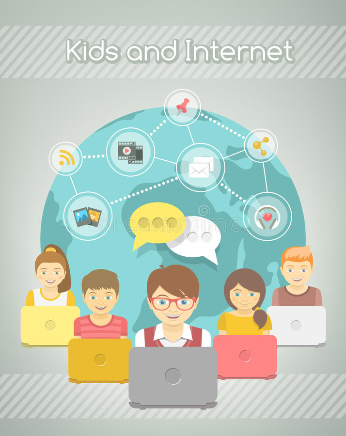 Rete sociale dei bambini su Internet del gruppo con i computer illustrazione di stock