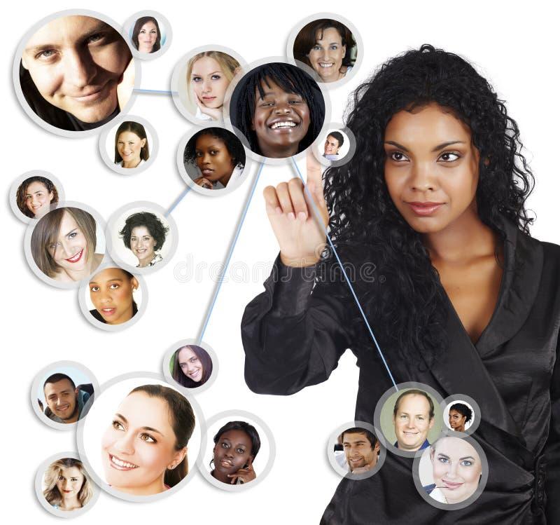 Rete sociale della donna di affari dell'afroamericano illustrazione vettoriale