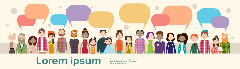 Rete sociale della folla della corsa della miscela di comunicazione della bolla di chiacchierata del gruppo della gente illustrazione vettoriale
