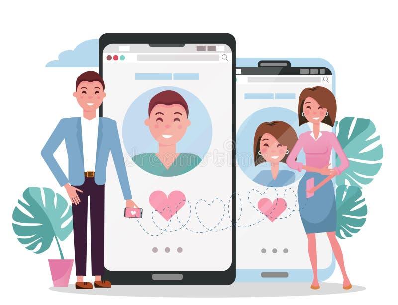 Rete sociale di datazione online, concetto virtuale di relazioni Conoscenza di donna e dell'uomo nella rete sociale Chiacchierata illustrazione vettoriale