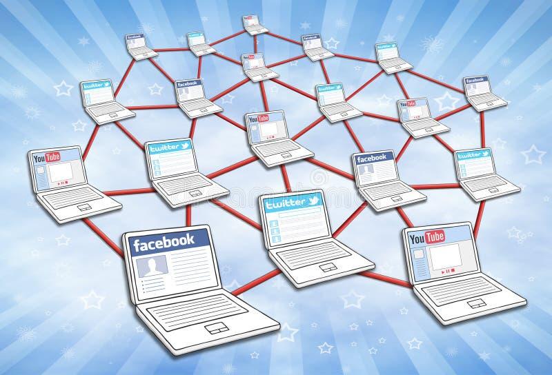 Rete sociale di media fotografie stock