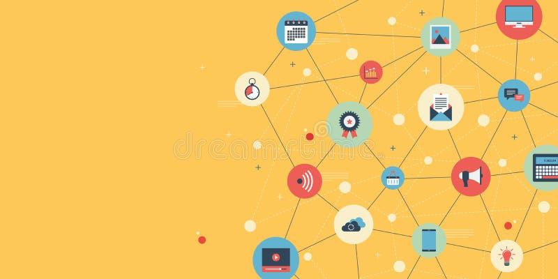 Rete sociale di media Contenuto digitale di affari illustrazione vettoriale