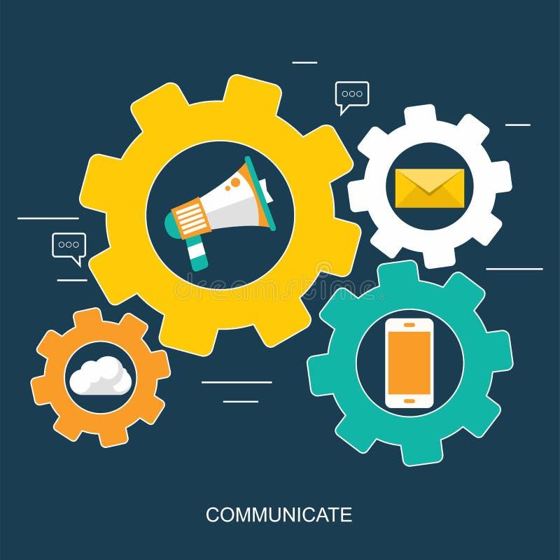 Rete sociale ed insegna di chiacchierata Comunicazione globale, spedizione di e, chiamate di web Vettore piano illustrazione di stock