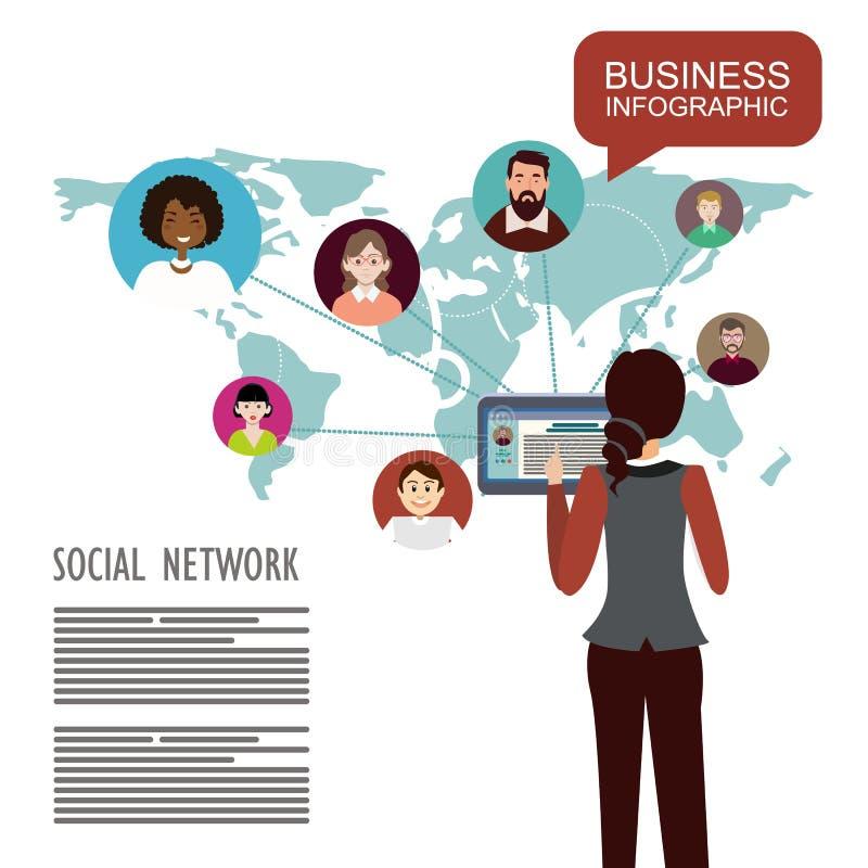 Rete sociale Schema sociale globale dell'estratto della rete illustrazione vettoriale