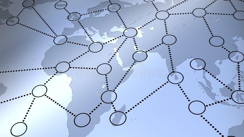 Rete sociale sulla mappa di mondo illustrazione vettoriale