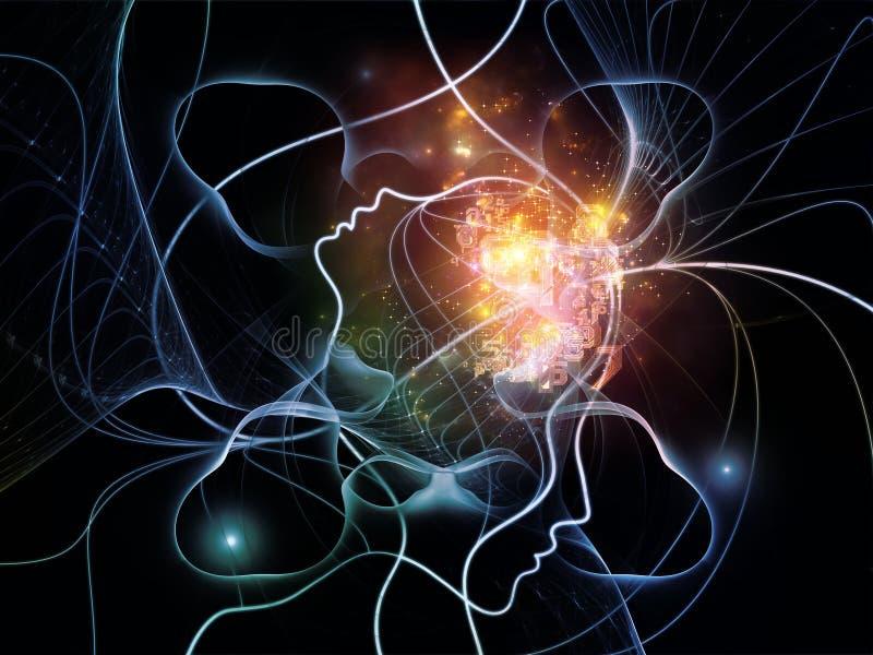 Rete virtuale di pensiero illustrazione vettoriale