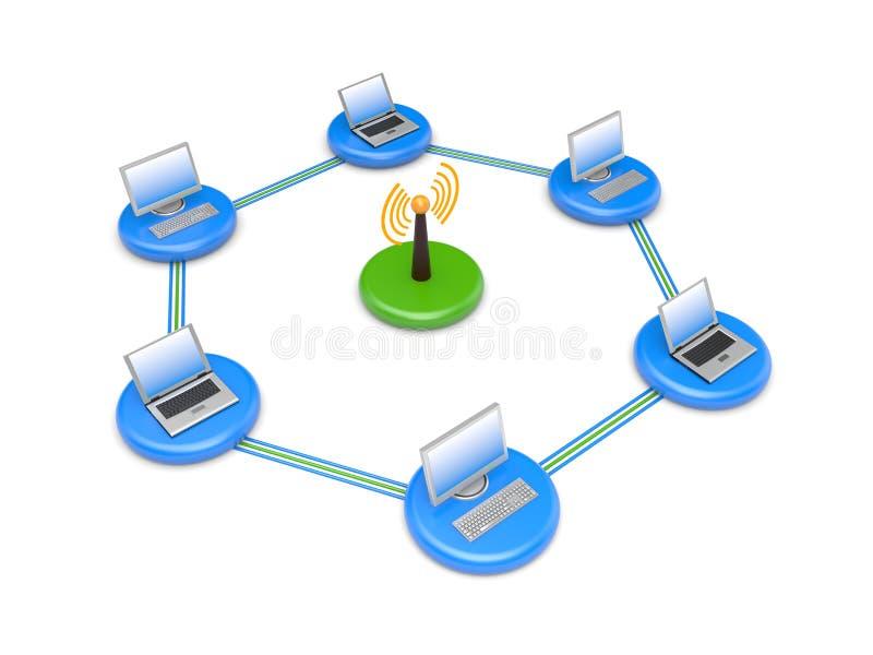 Rete wireless. L'immagine contiene il percorso di residuo della potatura meccanica illustrazione di stock