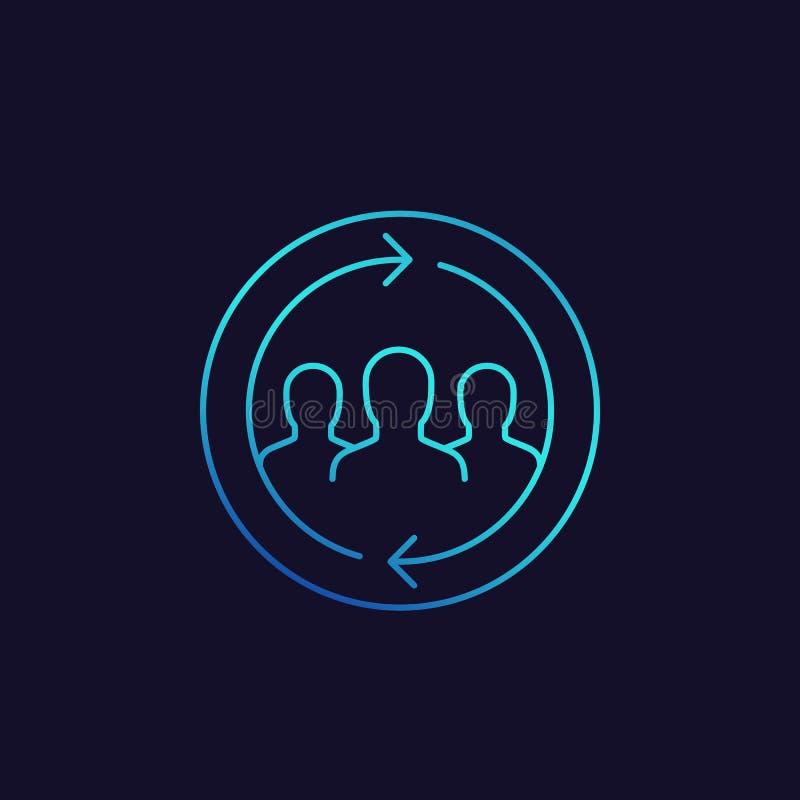 Retenção do cliente, ícone de retorno do vetor dos clientes ilustração do vetor