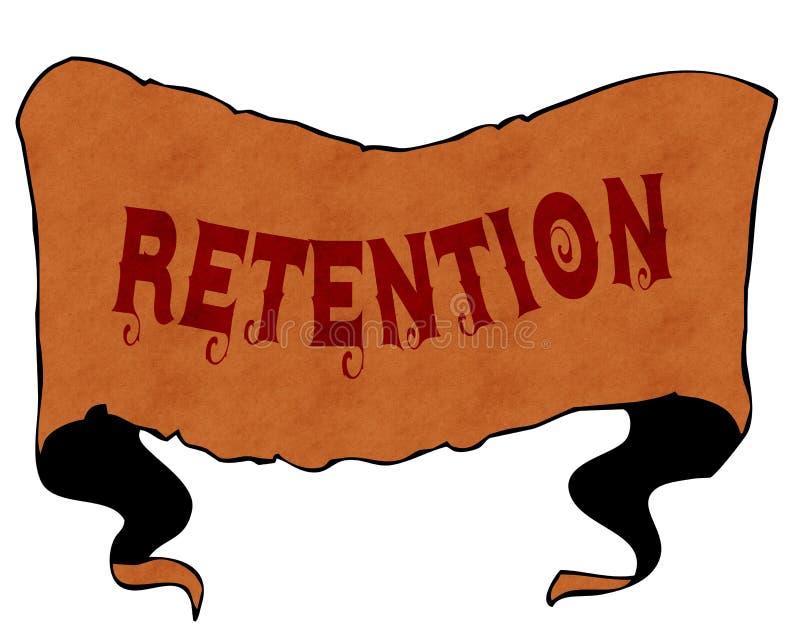 RETENÇÃO escrita com fonte do vintage na fita do vintage dos desenhos animados ilustração do vetor