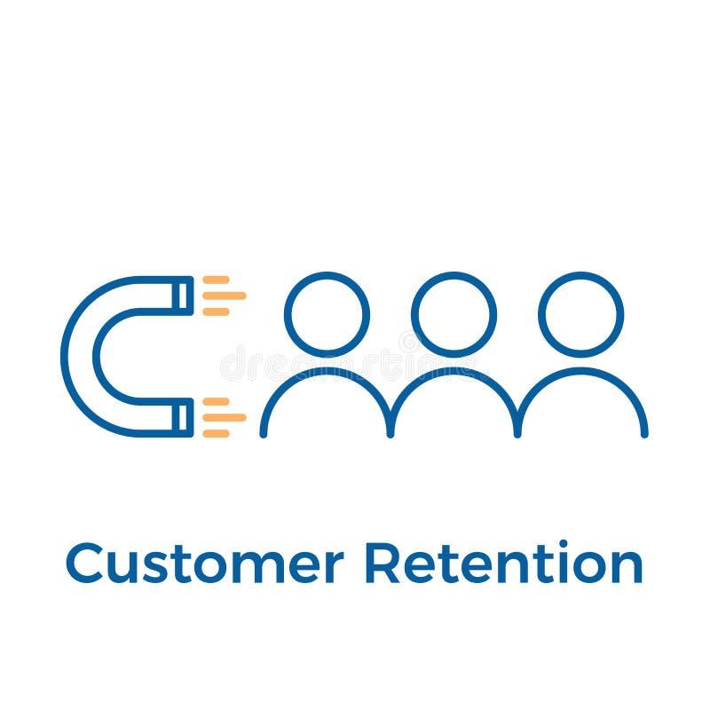 Retención del cliente con diseño del imán y de la gente Ejemplo del icono del vector Márketing de entrada de Digitaces libre illustration