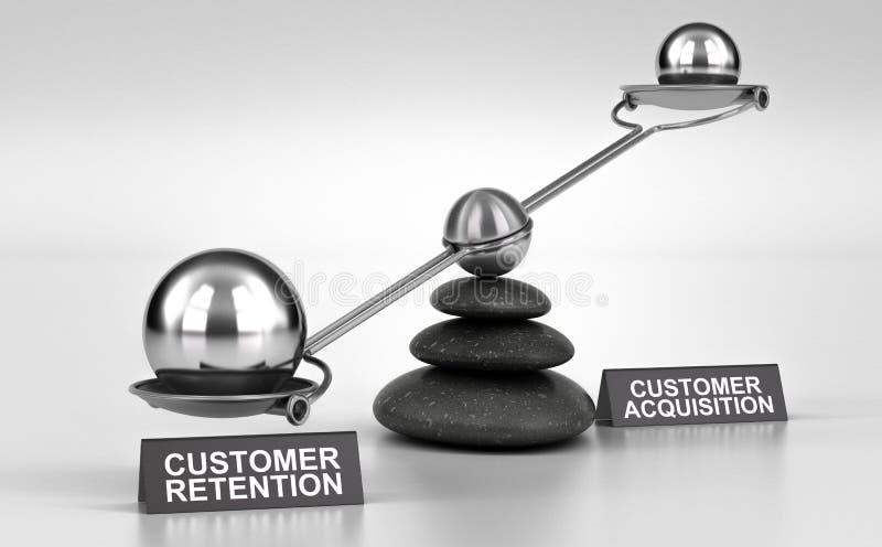 Retención del cliente CONTRA la adquisición stock de ilustración