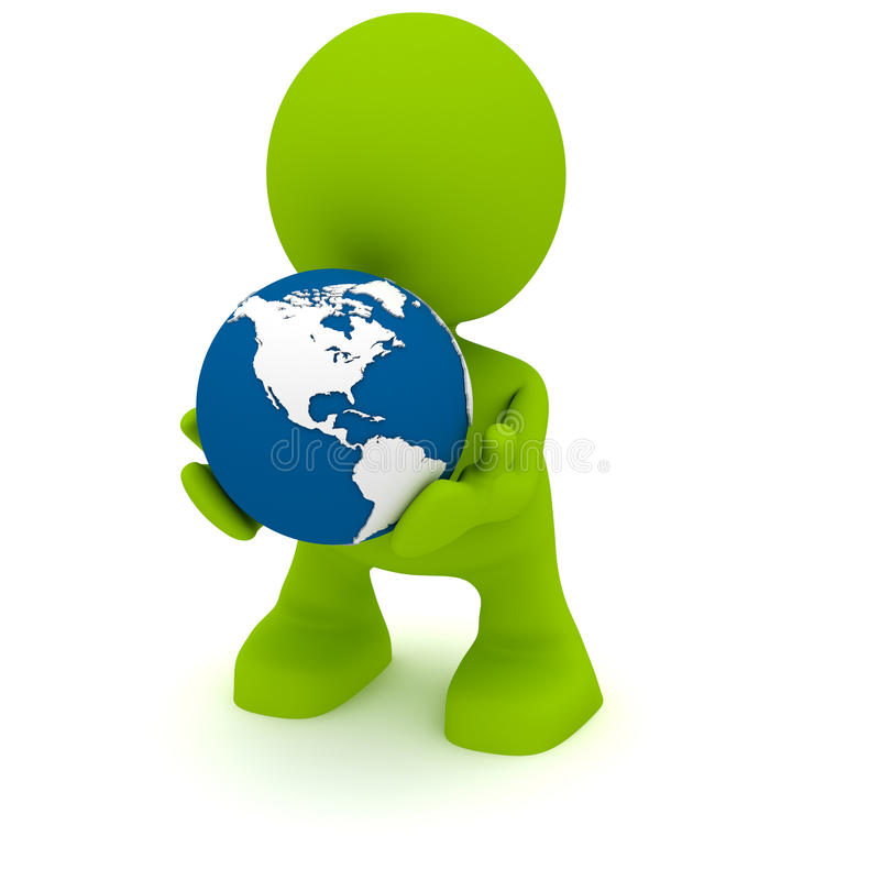 Retenir un globe illustration libre de droits