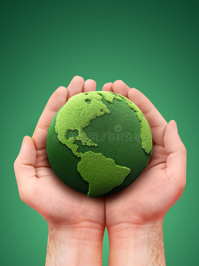Retenir une terre verte illustration de vecteur