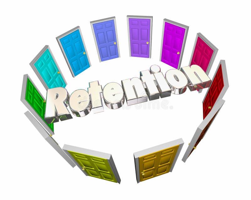 Retention Keep Hold Onto Employees Retain Customers Doors vector illustration