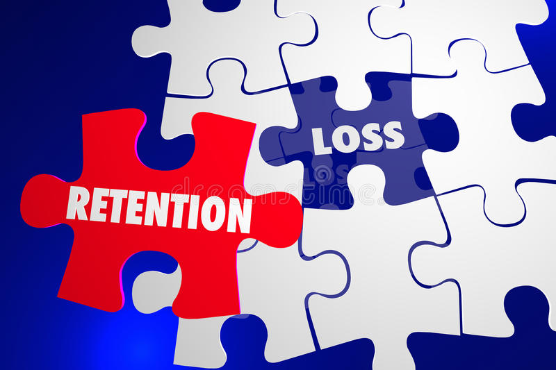 Retention Vs Loss Puzzle Piece Hold Onto Keep vector illustration