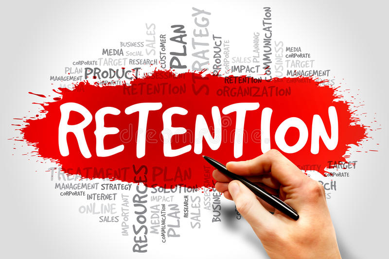 Retention. Word cloud, business concept stock image