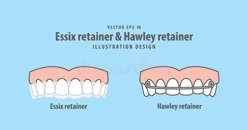 Retentor de Essix & de retentor de Hawley vetor da ilustração no CCB azul ilustração royalty free