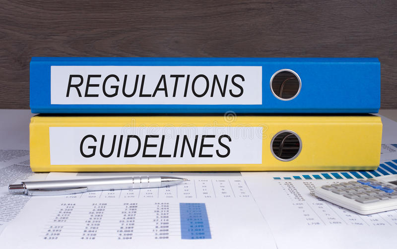 Text regulations and guidelines royalty free stock photos