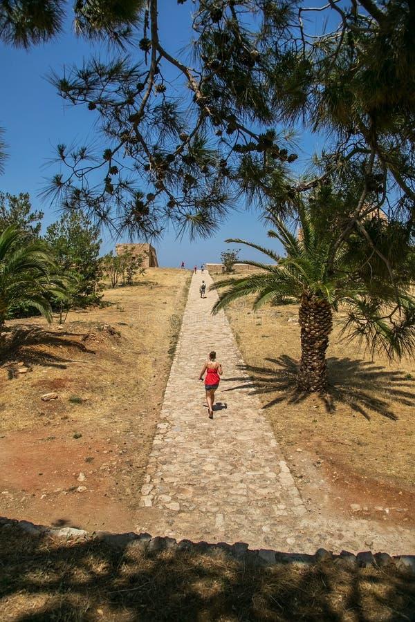 Rethimno miasto z fortecą Fortezza, Grecja obraz royalty free