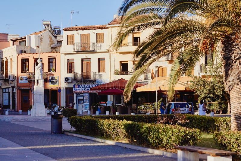 Rethymno, Crete, Grecja, Wrzesień 9, 2017: Widok zabytek niewiadomy żołnierz fotografia stock