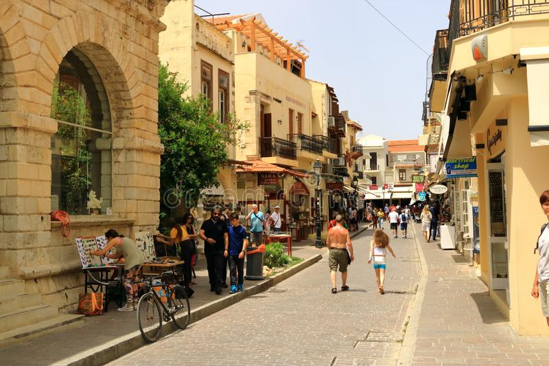 Rethymno, Crete island / Greece - May 28 2019: Charming old town Rethymno in Crete, Greece. Rethymno, Crete island / Greece - May 28 2019: Charming old town stock photos