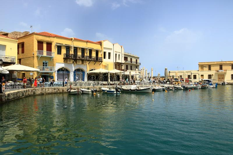 Rethymno, Crete island / Greece - May 28 2019: Charming old town Rethymno in Crete, Greece. Rethymno, Crete island / Greece - May 28 2019: Charming old town stock image