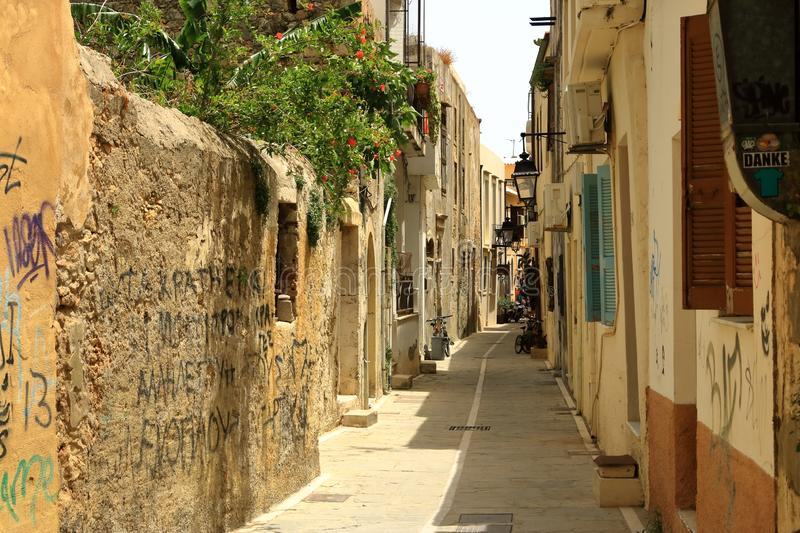 Rethymno, Crete island / Greece - May 28 2019: Charming old town Rethymno in Crete, Greece. Rethymno, Crete island / Greece - May 28 2019: Charming old town royalty free stock photography