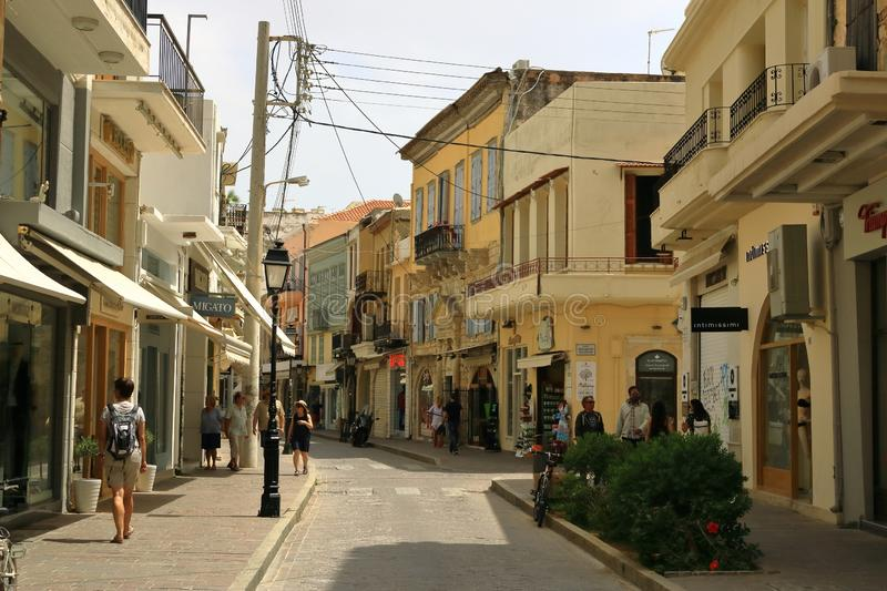 Rethymno, Crete island / Greece - May 28 2019: Charming old town Rethymno in Crete, Greece. Rethymno, Crete island / Greece - May 28 2019: Charming old town royalty free stock image
