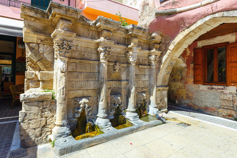 The Rimondi Fountain in the centre of the old town of Rethymnon, Greece stock images