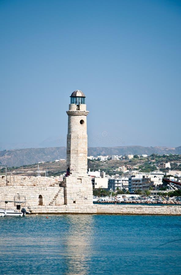 Rethymno lighthouse royalty free stock photo